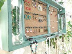 Jewelry Organizer Wall Display Vase Shelf Message by datedbydesign, $108.00