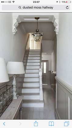 Modern Country Style: The Best Paint Colours For Small Hallways Click through fo. - Modern Country Interiors - Modern Country Style: The Best Paint Colours For Small Hallways Click through for details. Painted Stairs, New Homes, Victorian Homes, Victorian Hallway, House, Modern Country Style, Home, Victorian Terrace, Small Hallways