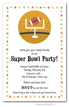 Taco Chips & Football Super Bowl Party Invitations - Taco chips border around a football and uprights, perfect for your Super Bowl party invitations, Me - Football Party Invitations, Birthday Party Invitation Wording, Retirement Party Invitations, First Birthday Party Themes, Chips, Printable Party, Print Advertising, Single Image