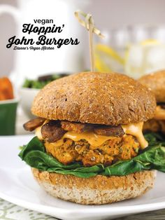 Vegan Hoppin' John Burgers with Tempeh Bacon and Spicy Aioli for New Year's Day >> Dianne's Vegan Kitchen