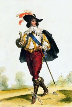 Court of Louis XIII. Nobleman fashion 17th century.