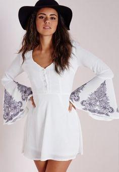 Crepe Bell Sleeve Henna Print Skater Dress White