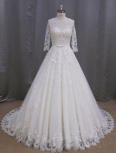 Sleeves Wedding Dress,Beach Wedding Dresses,A-line Wedding Dress,Tulle Wedding Dresses with Lace