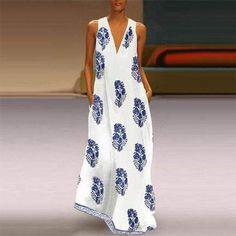 Sexy V Neck Sleeveless Printed Maxi Dress Summer Beach Dress dresses hijab arabian Dress Maxi Dress Summer, Bohemian Summer Dresses, Summer Dresses For Women, Vintage Summer Dresses, Vestidos Sexy, Vestidos Vintage, Mori Girl, Floral Print Maxi Dress, Floral Sundress