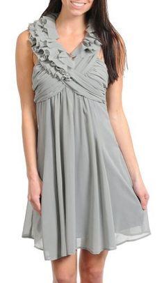 Stanzino Women's Mini Dress with Ruffled X neckline Gray S Wedding Set Up, Wrap Dress, Neckline, Summer Dresses, Gray, Amazon, Mini, Fashion, Summer Sundresses