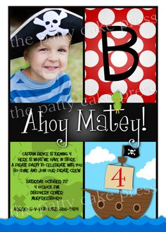 Pirate Invitation Custom  Birthday Party Photo Invite Printable Digital File Fourth Third 4th 3rd