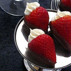 Cheesecake Stuffed Stawberries with Chocolate - Had these at a party the other night.  Almost cried - they were that good.