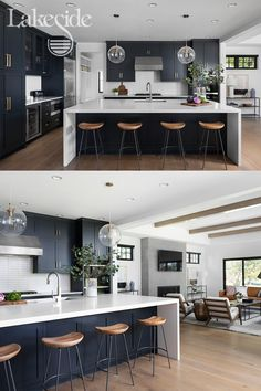 This large black and white kitchen opens up into a modern, sleek living room. Kitchen Room Design, Modern Kitchen Design, Home Decor Kitchen, Interior Design Kitchen, Home Kitchens, Kitchen Designs, Large Modern Kitchens, Interior Modern, Kitchen Ideas