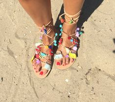 Greek sandals, Leather craft, Handmade, Ancient greek sandals, Boho sandals, Gladiator sandals, Egst, Pom pom sandals, Made in Greece #sandals #aluminum #greek #leather #fashion #style #boho #bohemian #ethnic #shoes