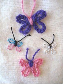 This butterfly crochet pattern is one of the quickest patterns you will find this season. These Tiny Butterflies can be used as embellishments for any garment or piece of decor. Crochet Butterfly Pattern, Easy Crochet Patterns, Crochet Motif, Crochet Designs, Crochet Flowers, Knit Crochet, Scrap Yarn Crochet, Thread Crochet, Crochet Crafts