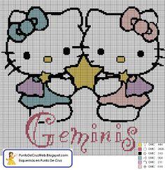 Punto De Cruz: Horóscopo Géminis De Hello Kitty