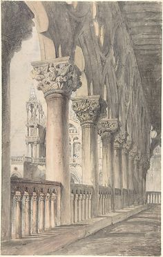 Loggia of the Ducal Palace, Venice Artist: John Ruskin (British, London 1819–1900 Brantwood, Cumbria) Date: 1849–50 Medium: Watercolor over graphite Dimensions: Sheet: 18 1/8 × 11 7/16 in. (46 × 29 cm)