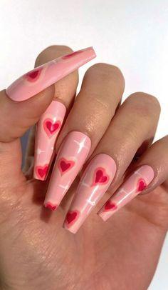 Heart Nail Designs, Cute Acrylic Nail Designs, Best Acrylic Nails, Edgy Nails, Swag Nails, Marvel Nails, Acylic Nails, Fire Nails, Heart Nails