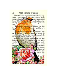 Robin and Roses The Secret Garden Book Art Print On 1938 Book Page, Literary Art, Cottage Decor, Spring Upcycled Art, Mixed Media Wall Decor...
