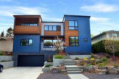 Hive Modular House In Calgary Blue Design Modern Exterior, Exterior Design, Landscape Bricks, Rock Decor, Landscaping With Rocks, Prefab, House Rooms, Interior Architecture, Modern Farmhouse