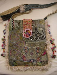 Boho hippie Recycled Antique Textiles Shoulder by HappyHatzs.