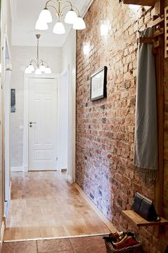 Faux Red Brick Wallpaper - get that exposed brick wall look without the cost of the brick wall... Love this brick color too