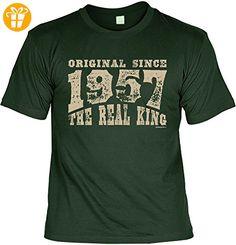 T-Shirt zum Geburtstag: Original since 1957. The real King - Tolle Geschenkidee - Baujahr 1957 - Farbe: dunkelgrün (*Partner-Link)