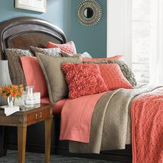 Love the colors - not sure about the ruffles. Amelia Quilted Coverlet King Size - Frontgate ( Bed linen / comforters Fabric Solid Tan Bedroom)
