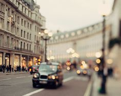 Lights on Regent Street London Print Pale by EyePoetryPhotography