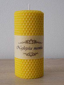 Svietidlá a sviečky - Sviečka zo 100% včelieho vosku - Točená z medzistienky - S ornamentom + Textom,menom,nápisom - 7312670_