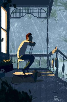 Weathering the storm, Illustration by Pascal Campion Art And Illustration, Illustrations And Posters, Bd Art, Pascal Campion, Ligne Claire, Anime Scenery, Cool Art, Concept Art, Art Drawings