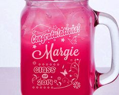 Graduation Class of 2017 Gift Engraved Mason Jar Glasses Personalized Drinking Mug Glass Etched Gift Party Favor Graduate Gift