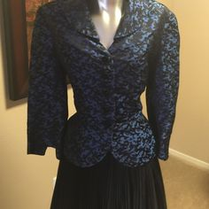 Vintage blue and black jack. Fully lined You are looking at a beautiful vintage jacket blue and black button-down. This jacket is fully lined with a cape like collar. No stags or tears. Vintage Jackets & Coats