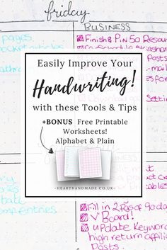 Easily Improve Your Handwriting As An Adult With these handy tools and tips +Bonus free printable worksheets