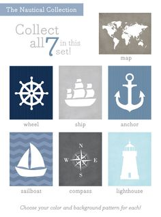 Ship Wheel Art Print / Nautical Set / Choose your Colors and Background / 8x10 / Wall Art Poster. $15.00, via Etsy.