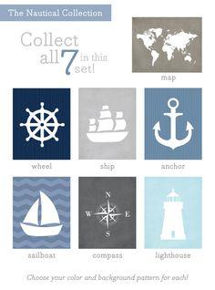 Anchor Art Print / Nautical Set / Choose your by jennasuedesign, $15.00