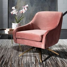 Looking for Safavieh Couture Home Tiffany Modern Glam Dusty Rose Velvet Pleated Swivel Arm Chair ? Check out our picks for the Safavieh Couture Home Tiffany Modern Glam Dusty Rose Velvet Pleated Swivel Arm Chair from the popular stores - all in one. Velvet Armchair, Swivel Armchair, Upholstered Chairs, Recliner, Teal Accent Chair, Accent Chairs, New Living Room, Living Room Chairs, Dining Chairs