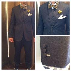 suit:デニムノーカラースーツ shirt:ネイビーギンガムチェック bowtie:イエローギンガムチェック  #新郎#カジュアルウエディング#デニム
