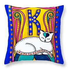 Home decor for Kids Room. Cat pillow Peace And Love - colorful Cat Art By Dora Hathazi Mendes for kids, for girls, gifts, cat art, peace, love, cat, white cat, cats, feline, kitty, kitten, katze, peaceful, nature, leaf, leaves, heart, hearts,  art nouveau, charming, lovely, sleeping, whimsical, pet, pets, alphabet, girl room, child room, kids room, art for children, nursery, letter, alphabet, letters,kim, kylie, kennedy, khloe, homedecor, kate, katie, orange, pink, blue, bronze, #dorahathazi
