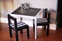 little chalkboard table via IKEA