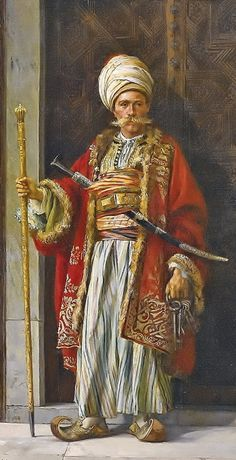 """A palace guard"" (in ceremonial outfit). Painted in 1881 by the Polish orientalist painter Stanislaw Chlebowski (1835-1884), who was from 1864-1876 master-painter for sultan Abdülaziz in Constantinopel / Istanbul."