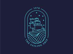 Simple line art logo 35 Super ideas Graphic Design Posters, Typography Design, Sailing Logo, Sailing Ships, Logo Branding, Branding Design, Web Design Mobile, Ship Logo, Badge Design