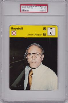 1977 - 79 Sportscaster #102-24 JIMMY PIERSALL - ITALY PSA 6 ex/mt RED SOX 1/1 #BostonRedSox