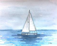 #Sailboat painting, watercolor Boat, #Nautical painting, #Coastal wall art, #Ocean painting, #sailing artwork, Blue watercolor sky painting #artpainting