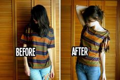 Refashion T-shirts into tops | www.FabArtDIY.com - Part 2  #fashion, #nosew, #refashion, #restyle, #t-shirt, #diy