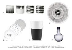 Vaisselle ambiance graphique noir&blanc