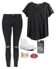 """""""Untitled #3335"""" by if-i-were-famous1 ❤ liked on Polyvore featuring Topshop, H&M, Converse, Panacea and Smashbox"""