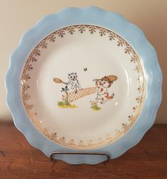 Assiette à bouillie  en porcelaine de Limoges ULM motif chatons