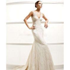 Dropped Waist V-Neck Spaghetti Straps Satin Lace elegant Mermaid long Wedding Dresses