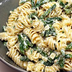 asparagus, lemon & goat cheese pasta.