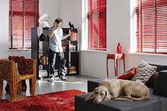 rood, wit, zwart interieur met geometrische details - Inspiration ...
