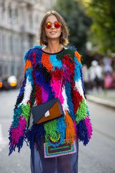 knitGrandeur: Patchwork Fringe-Marie Claire Street Style, F/W 2015