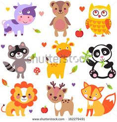 Vector illustration of cute animals: cow, bear, owl, raccoon, giraffe, panda, lion, deer and fox. - stock vector
