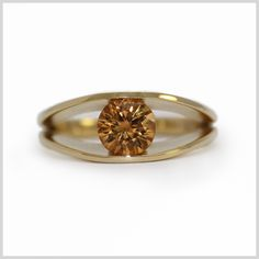 Imperial Topaz Handmade Bespoke Statement Ring Silver Gold Platinum Palladium Contemporary Statement Ring Tension Set