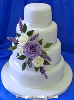 Cream & lilac rose & lavender stacked wedding cake